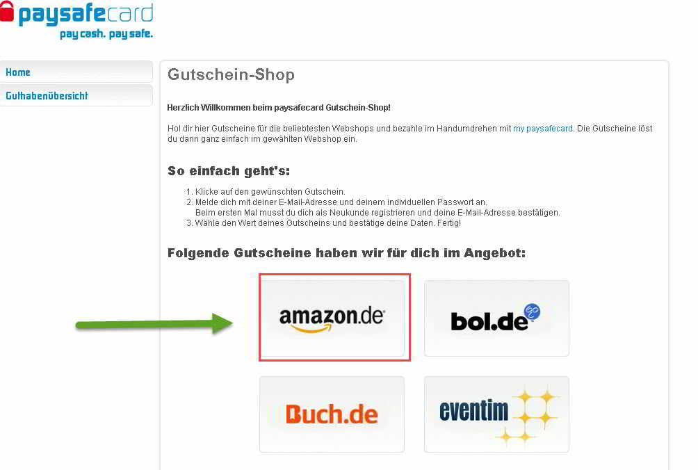 How to use paysafecard on amazon